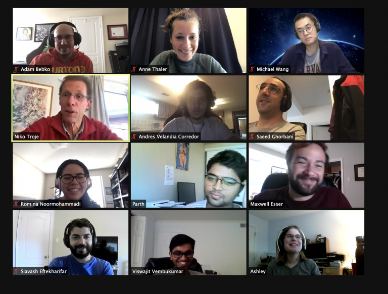 Shows the biomotion lab in a zoom meeting